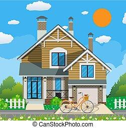 χαριτωμένος , άσπρο , ιδιωτικός , σπίτι , με , ποδήλατο