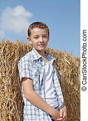 χαριτωμένος , αγροτικός , φόντο , αγόρι