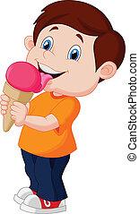 χαριτωμένος , αγόρι , γελοιογραφία , γλείψιμο , παγωτό