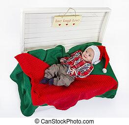 χαριτωμένος , αγόρι , claus , santa , μωρό , καπέλο