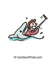 χαριτωμένος , απατεών , αστείος , φωτογραφία , φτιάχνω , θάλασσα , selfie, άντραs