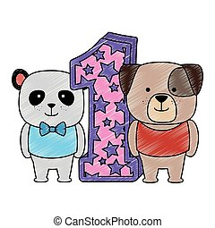 χαριτωμένος , αριθμόs , σκύλοs , αρκούδα , εις , γράμμα , αρκτοειδές ζώο της ασίας