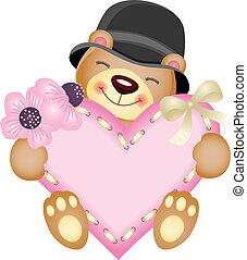 χαριτωμένος , αρκουδάκι , με , καρδιά