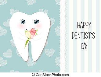 χαριτωμένος , αστείος , αποκορυφώνω , χαρακτήρας , χαιρετισμός , δόντι , οδοντίατρος , κάρτα , χρυσαφένιος , χαμογελαστά , ακτινοβολώ , γελοιογραφία , ημέρα , ευτυχισμένος