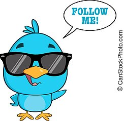 χαριτωμένος , γαλάζιο πουλί , με , γυαλλιά ηλίου