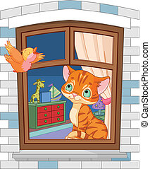 χαριτωμένος , γατάκι , κάθονται , επάνω , ο , παράθυρο