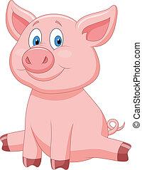 χαριτωμένος , γελοιογραφία , γουρούνι