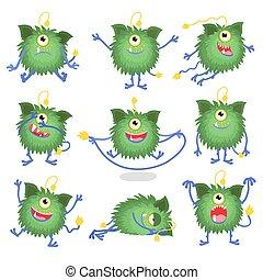 χαριτωμένος , γελοιογραφία , τέρας , μέσα , διαφορετικός , διατυπώνω , μικροβιοφορέας