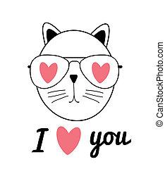χαριτωμένος , γενική ιδέα , αγάπη , illustration., γάτα , μετοχή του draw , εσείs , χέρι