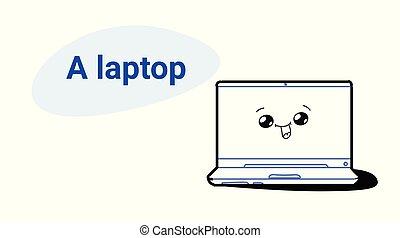 χαριτωμένος , γενική ιδέα , laptop ηλεκτρονικός εγκέφαλος , χαμογελαστά , μόρφωση , κόμικς , emoji, kawaii, ρυθμός , χαρακτήρας , εξοπλισμός , ψηφιακός , μετοχή του draw , ευτυχισμένος , χέρι , μηχάνημα , οριζόντιος , γελοιογραφία , εικόνα , δουλειά , ζεσεεδ