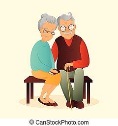 χαριτωμένος , γριά , illustration., ζευγάρι , παππούs , γιαγιά , characters., μικροβιοφορέας