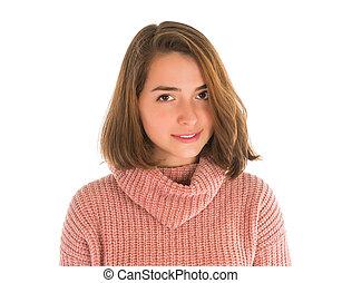 χαριτωμένος , γυναίκα , νέος , πουλόβερ , ροζ