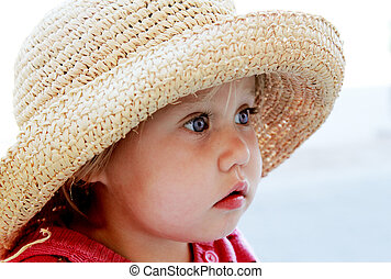 χαριτωμένος , δεσποινάριο καπέλο ζωντανή περιγραφή προσώπου