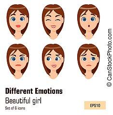 χαριτωμένος , διαφορετικός , γυναίκα αρμοδιότητα , νέος , ζεσεεδ , expressions., μελαχροινή , διάφορος , ελκυστικός , κορίτσι , woman., emotions.