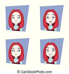 χαριτωμένος , διαφορετικός , θέτω , νέος , ισχυρό αίσθημα , ζεσεεδ , μαλλιά , γυναίκα , του προσώπου , κορίτσι , εκφράσεις , κόκκινο