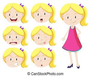 χαριτωμένος , διαφορετικός , κορίτσι , αναφερόμενος στο πρόσωπο αναπαράσταση