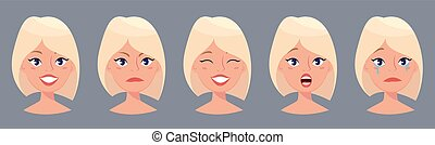 χαριτωμένος , διαφορετικός , όμορφη , νέος , emotions., ξανθή , αντικρύζω , γυναίκα