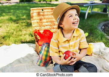 χαριτωμένος , δικός του , αγόρι , γοητευτικός , μικρό , χαμόγελο