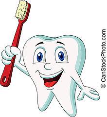 χαριτωμένος , δόντι , γελοιογραφία , κράτημα , δόντι , br