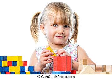 χαριτωμένος , εκπαιδευτικός , game., τραπέζι , κορίτσι , παίξιμο