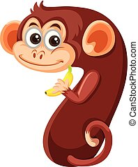 χαριτωμένος , επτά , χαρακτήρας , μαϊμού , αριθμόs