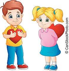 χαριτωμένος , ζευγάρι , γελοιογραφία , κόκκινο , αγάπη