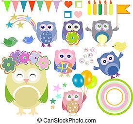 χαριτωμένος, θέτω, γενέθλια, κουκουβάγιες, μικροβιοφορέας, πάρτυ, στοιχεία