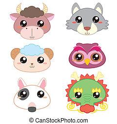 χαριτωμένος , κεφάλι , απεικόνιση , έξι , ζώο , γελοιογραφία