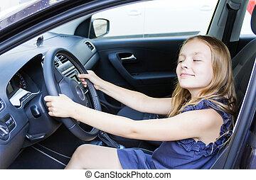 χαριτωμένος , κορίτσι , αυτοκίνητο