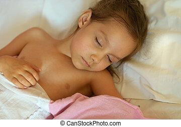 χαριτωμένος , κορίτσι , κρεβάτι , κοιμάται