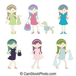 χαριτωμένος , κορίτσι , ψώνια , γελοιογραφία