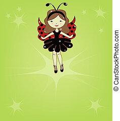 χαριτωμένος , κορίτσι , όμορφη , είδος κάνθαρου με ωραία πτερά