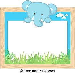 χαριτωμένος , κορνίζα , ελέφαντας