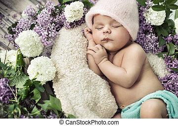 χαριτωμένος , λουλούδια , κοιμάται , αγόρι