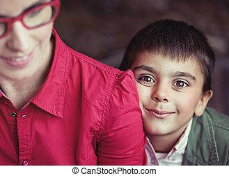 χαριτωμένος , μάτια , αγόρι , μεγάλος , καφέ
