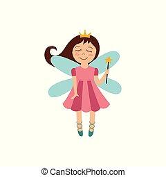 χαριτωμένος , μαγεία , χρυσός , ράβδος , ιπτάμενος , αποκορυφώνω , πριγκίπισα , χαμογελαστά , νεράιδα