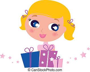 χαριτωμένος , μικρός , απομονωμένος , διακοπές χριστουγέννων δικαίωμα παροχής , άσπρο , κορίτσι
