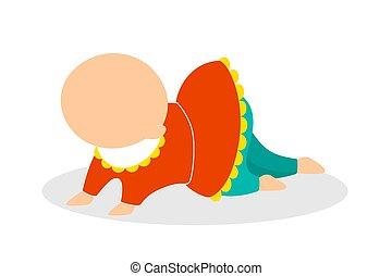 χαριτωμένος , μικρός , γριά , μήνας , πέντε , παιδί , μωρό , crawling.