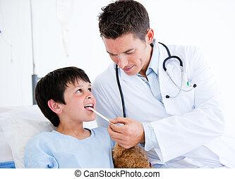 χαριτωμένος , μικρός , διαγώνισμα , αγόρι , ιατρικός , ακούω