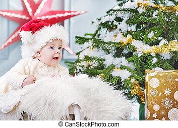 χαριτωμένος , μικρός , δικός του , αγόρι , κατά την διάρκεια , xριστούγεννα , πρώτα