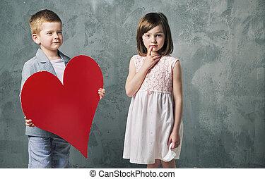 χαριτωμένος , μικρός , δικός του , αγόρι , χορήγηση , αδελφή , καρδιά
