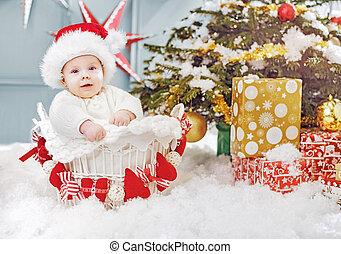 χαριτωμένος , μικρός , κάθονται , βέργα λυγαριάς , santa , καλαθοσφαίριση