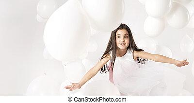 χαριτωμένος , μικρός , μπαλόνι , κορίτσι , παίξιμο