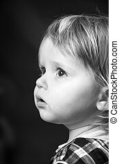 χαριτωμένος , μικρός , μπογιά , μαύρο , μωρό , πορτραίτο , άσπρο