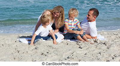 χαριτωμένος , μικρός , παίξιμο , άμμοs , αγόρι
