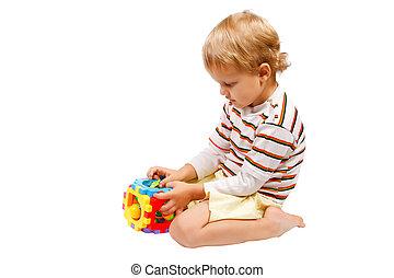 χαριτωμένος , μικρός , παιχνίδι , γραφικός , αγόρι , παίξιμο