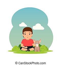 χαριτωμένος , μικρός , σκύλοs , τοπίο , αγόρι