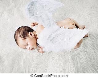 χαριτωμένος , μικρός , υπνάκοs , άγγελος , κατά την διάρκεια