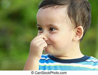 χαριτωμένος , μικρό αγόρι , κράτημα , δικός του , μύτη