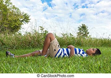 χαριτωμένος , μικρό αγόρι , ουρανόs , ατενίζω , ινδός , πορτραίτο
